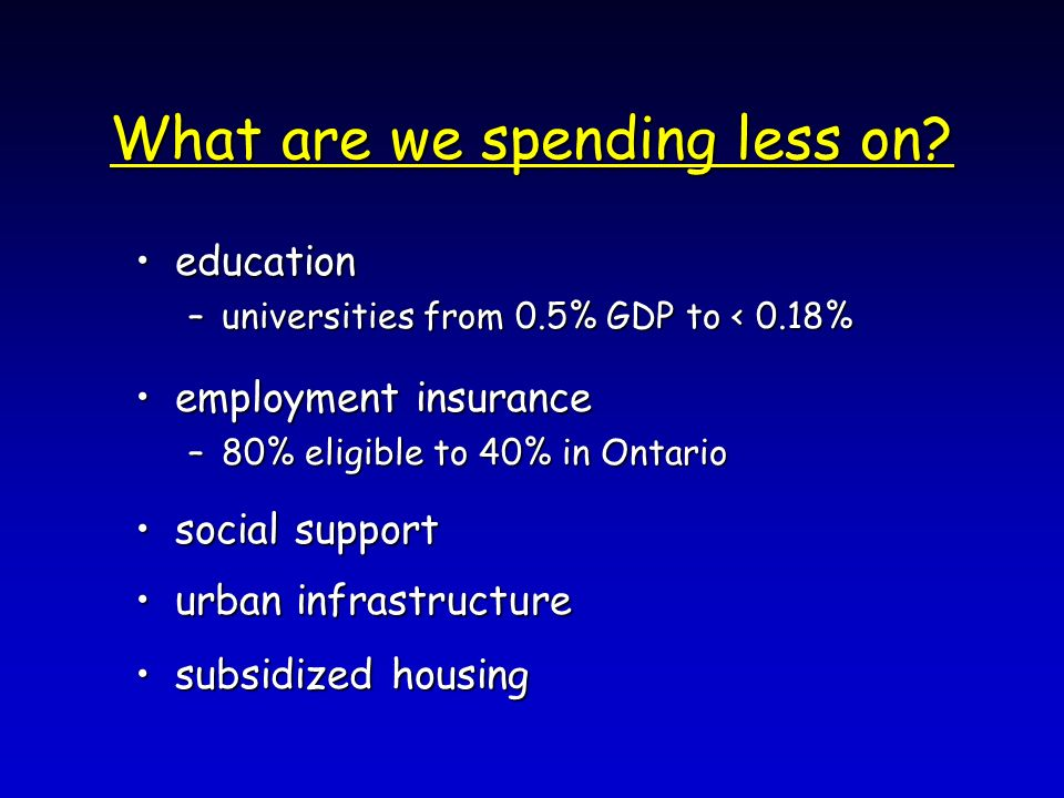 What are we spending less on.
