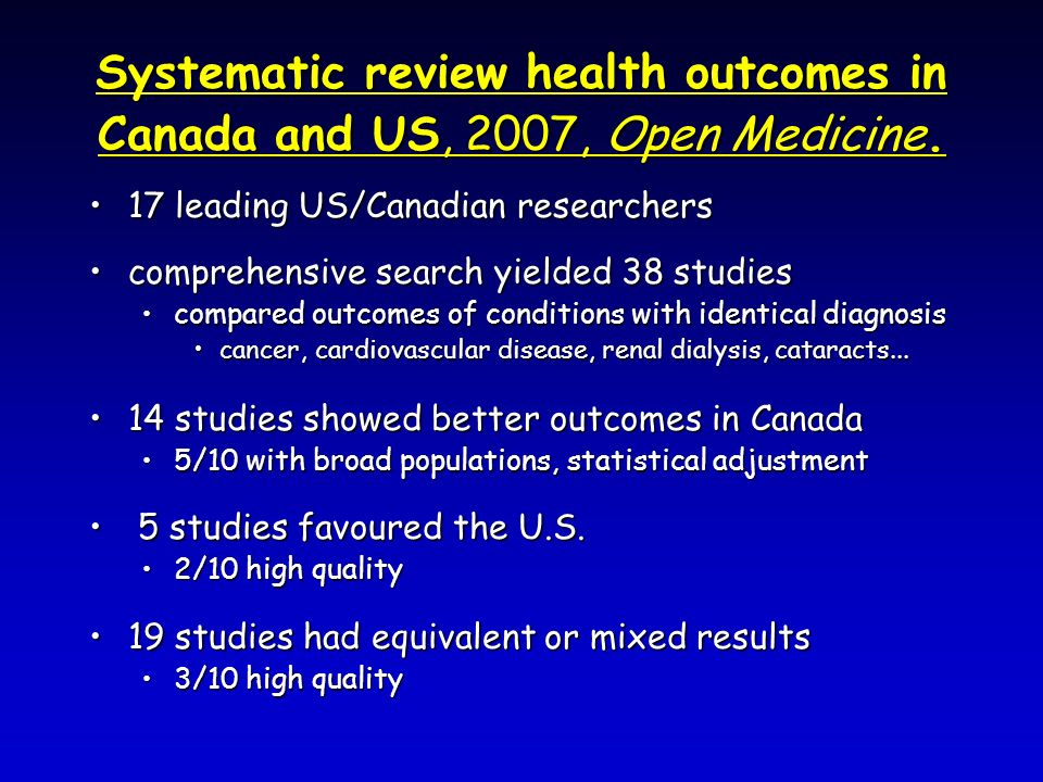 Systematic review health outcomes in Canada and US, 2007, Open Medicine. 17 leading US/Canadian researchers17 leading US/Canadian researchers comprehe