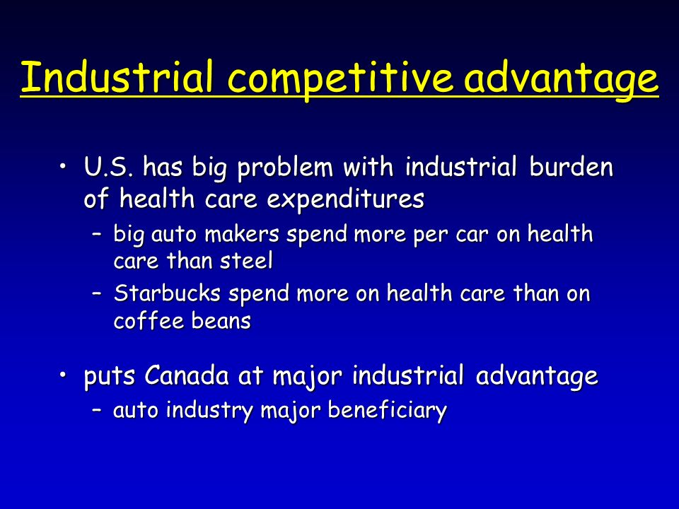 Industrial competitive advantage U.S. has big problem with industrial burden of health care expendituresU.S. has big problem with industrial burden of