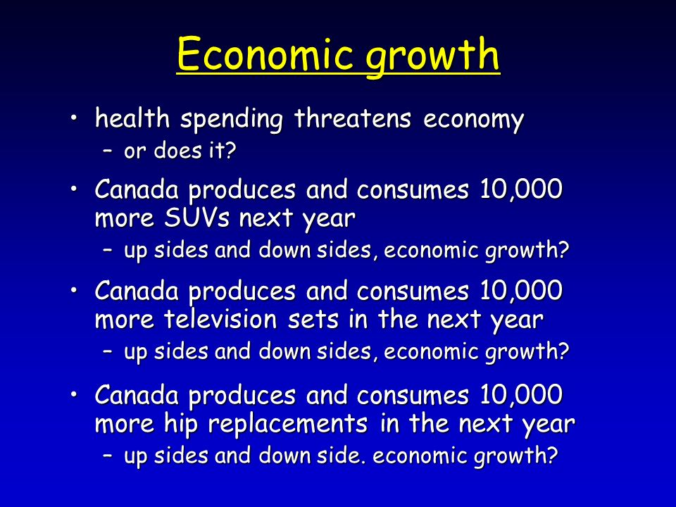 Economic growth health spending threatens economyhealth spending threatens economy –or does it? Canada produces and consumes 10,000 more SUVs next yea