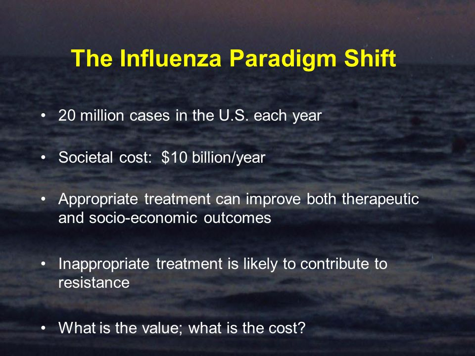 The Influenza Paradigm Shift 20 million cases in the U.S.
