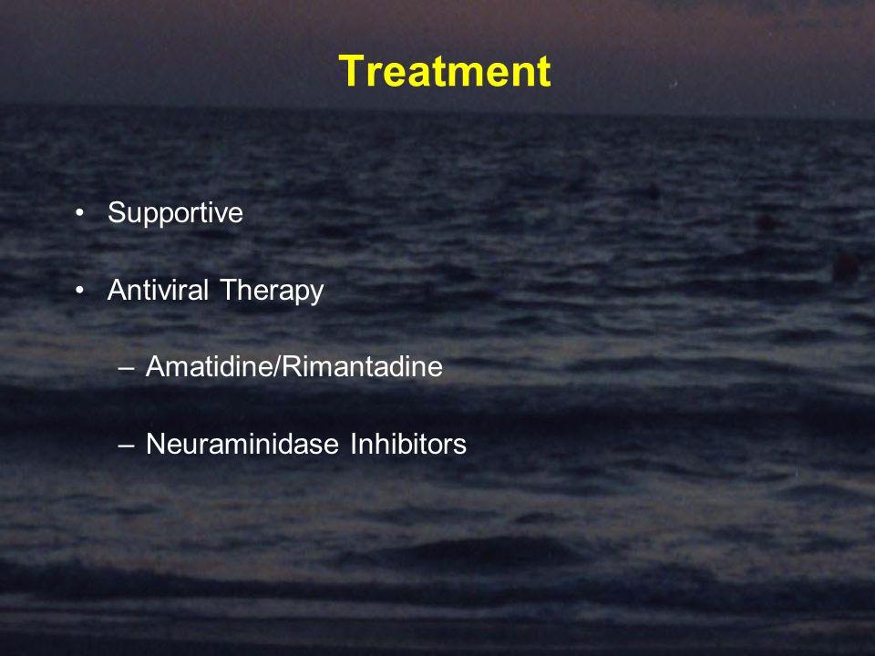 Treatment Supportive Antiviral Therapy –Amatidine/Rimantadine –Neuraminidase Inhibitors