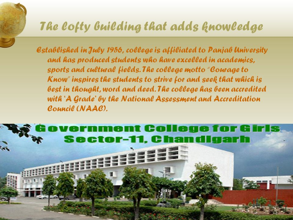 The lofty building that adds knowledge Established in July 1956, college is affiliated to Panjab University and has produced students who have excelled in academics, sports and cultural fields.