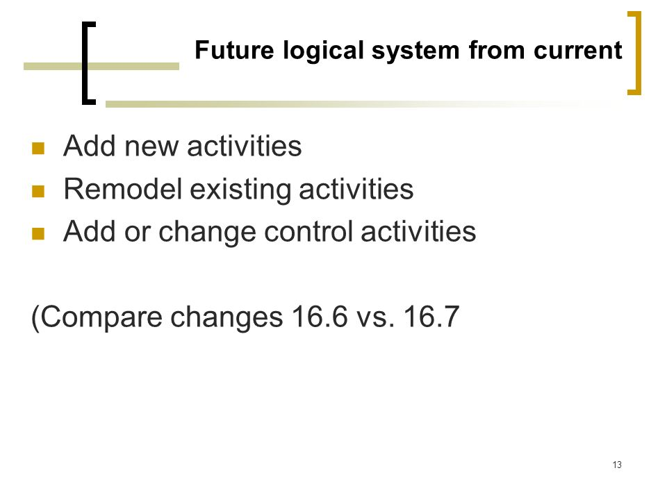 13 Future logical system from current Add new activities Remodel existing activities Add or change control activities (Compare changes 16.6 vs. 16.7