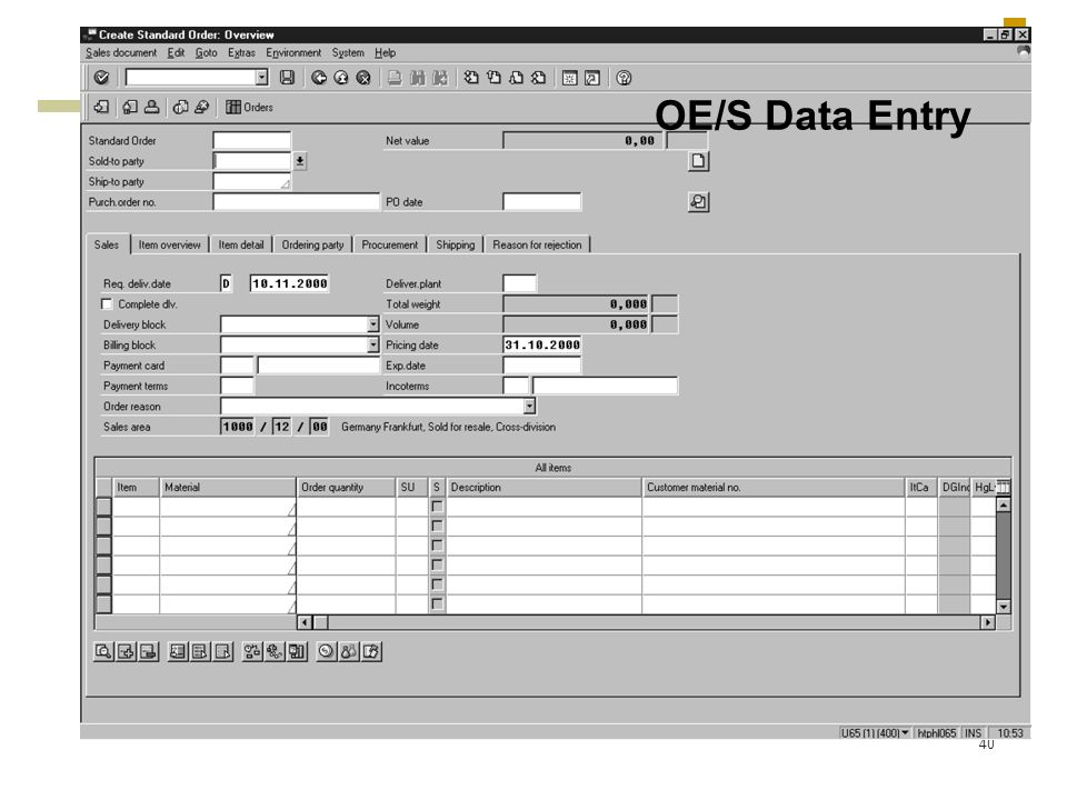 40 OE/S Data Entry