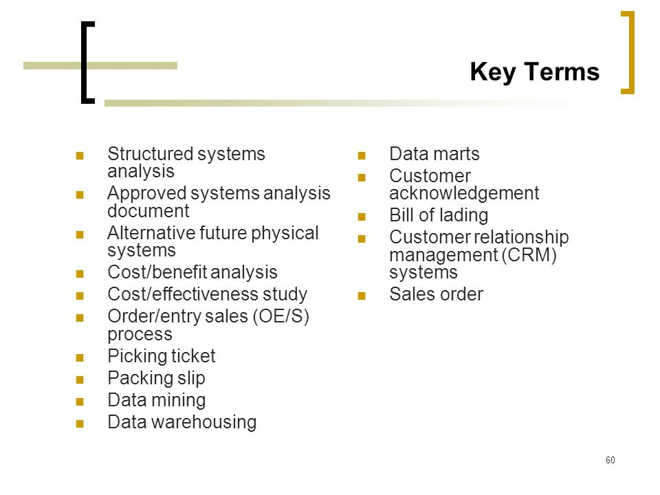 60 Key Terms Structured systems analysis Approved systems analysis document Alternative future physical systems Cost/benefit analysis Cost/effectivene