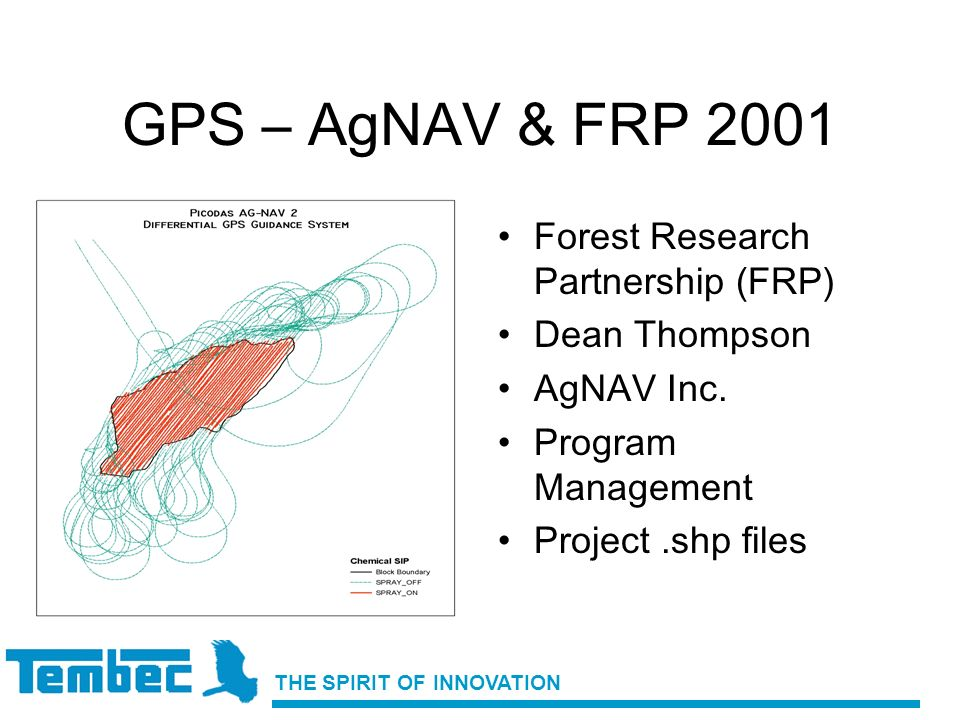 THE SPIRIT OF INNOVATION GPS – AgNAV & FRP 2001 Forest Research Partnership (FRP) Dean Thompson AgNAV Inc. Program Management Project.shp files