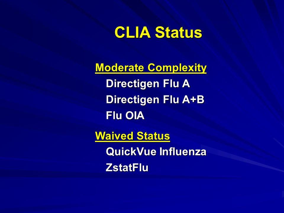 CLIA Status Moderate Complexity Directigen Flu A Directigen Flu A+B Flu OIA Waived Status QuickVue Influenza ZstatFlu