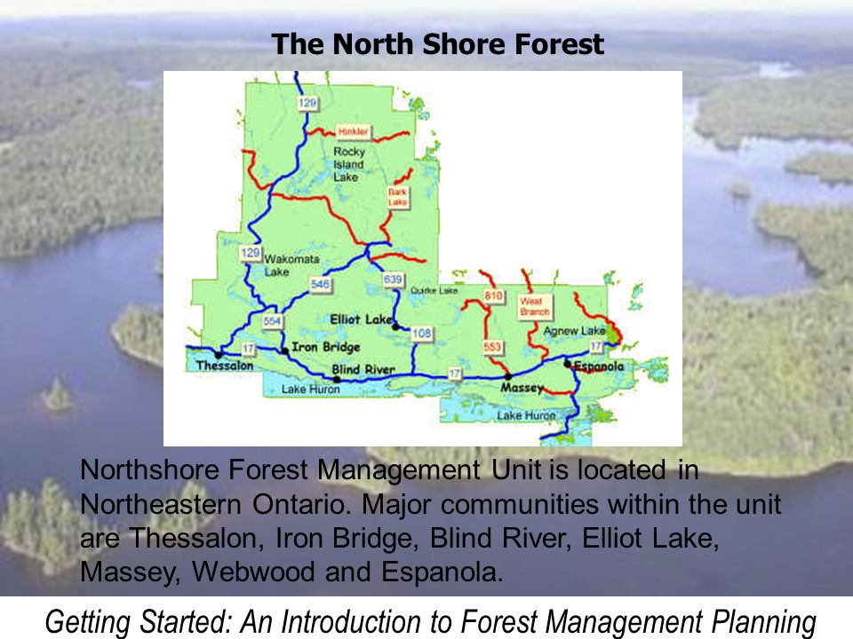 Getting Started: An Introduction to Forest Management Planning The North Shore Forest Northshore Forest Management Unit is located in Northeastern Ont