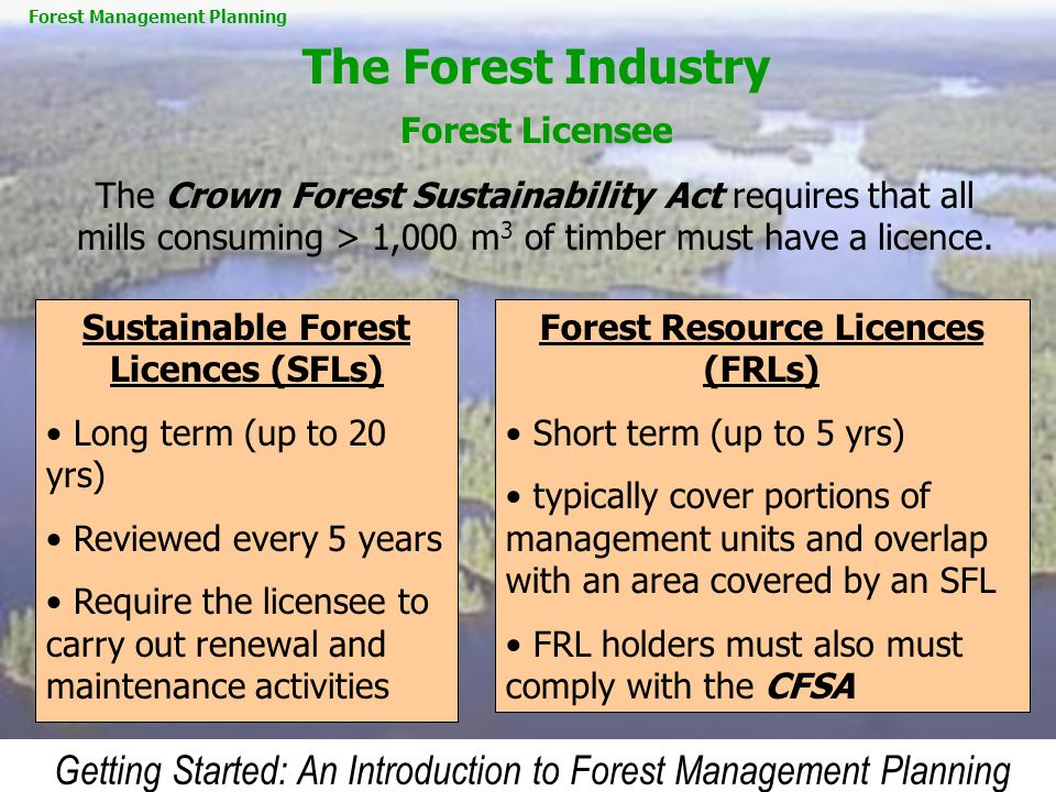 Getting Started: An Introduction to Forest Management Planning The Forest Industry Forest Licensee Sustainable Forest Licences (SFLs) Long term (up to
