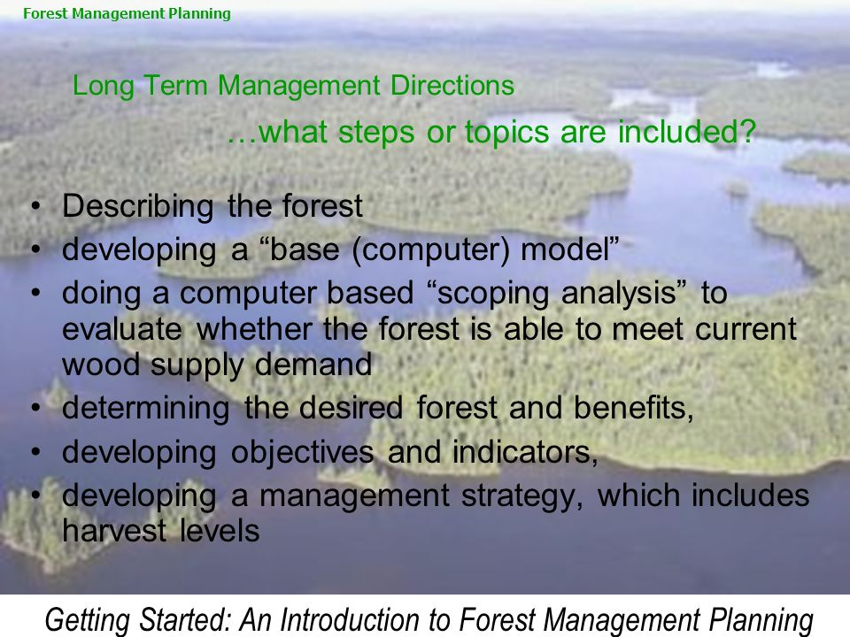 Getting Started: An Introduction to Forest Management Planning Long Term Management Directions …what steps or topics are included? Describing the fore