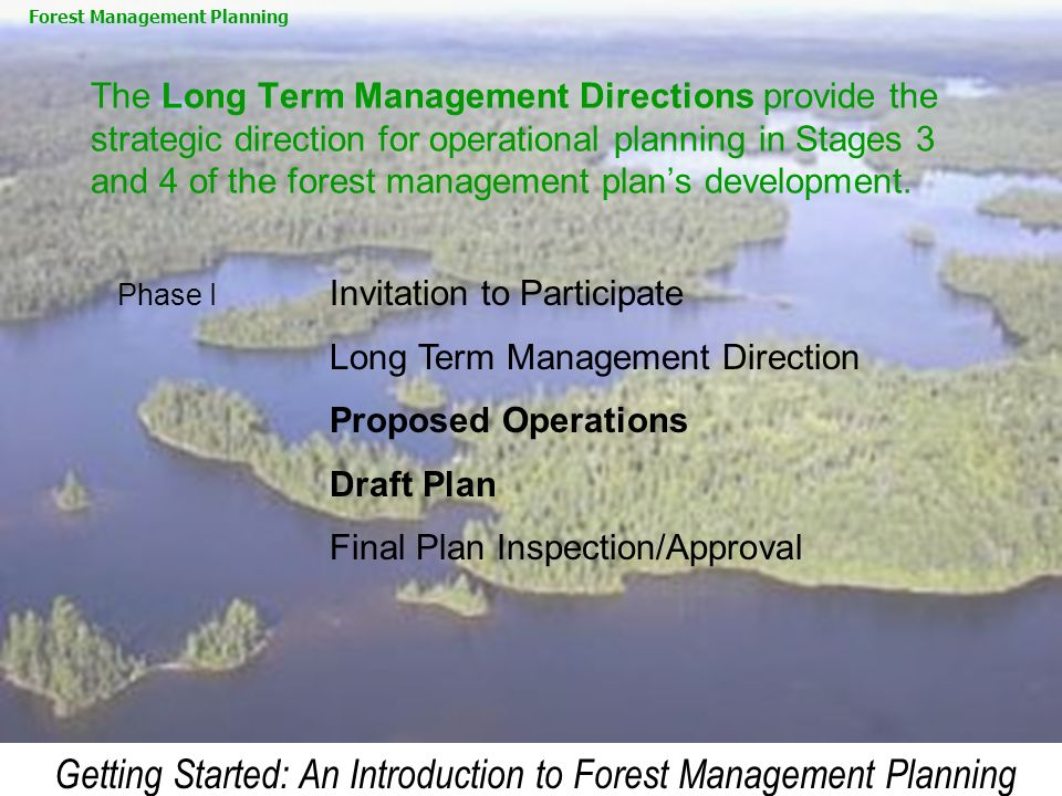 Getting Started: An Introduction to Forest Management Planning The Long Term Management Directions provide the strategic direction for operational pla