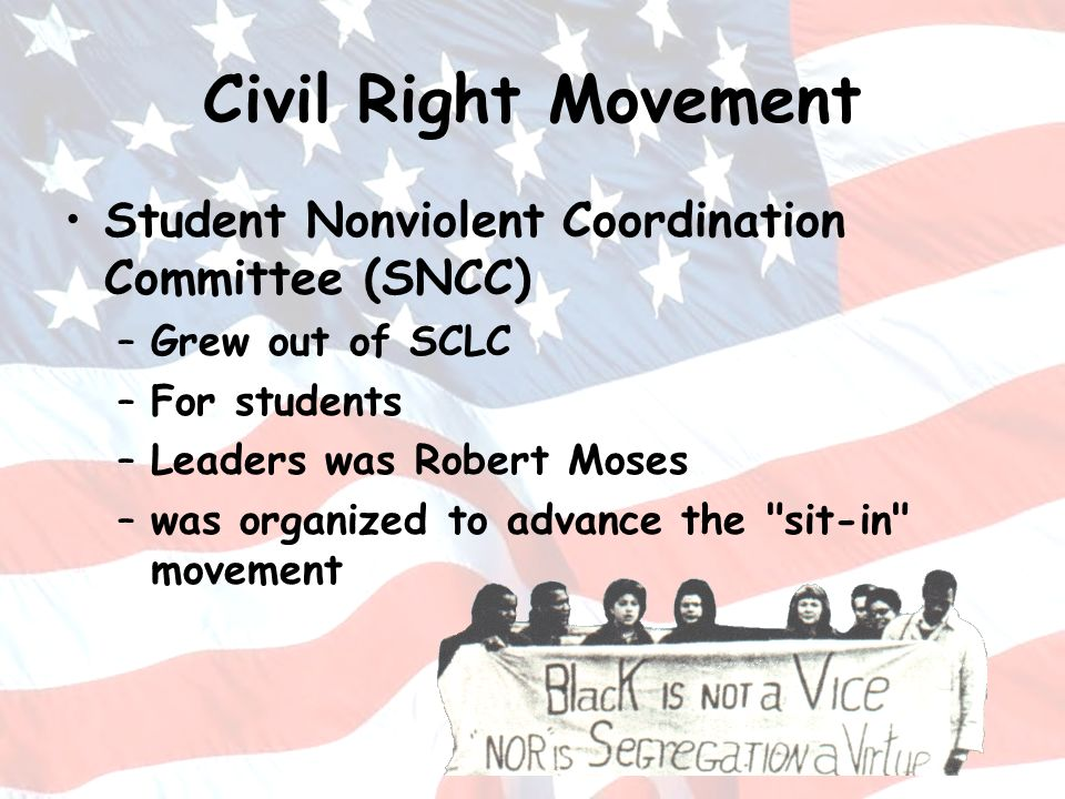 Civil Right Movement Student Nonviolent Coordination Committee (SNCC) –Grew out of SCLC –For students –Leaders was Robert Moses –was organized to adva