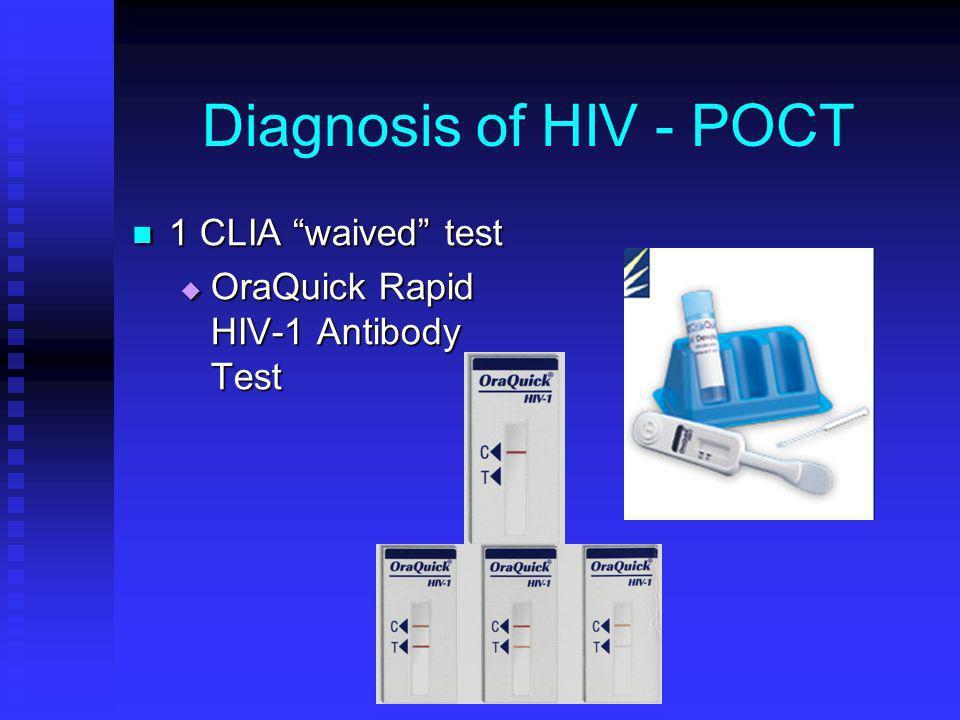 Diagnosis of HIV - POCT 1 CLIA waived test 1 CLIA waived test OraQuick Rapid HIV-1 Antibody Test OraQuick Rapid HIV-1 Antibody Test