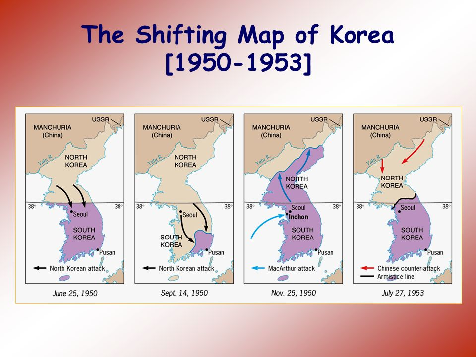 Korean War, 1950-53 Divided north and south at 38 th parallel at end of WWII. In 1950, Communist North Korea invaded South Korea. The U.S. and United