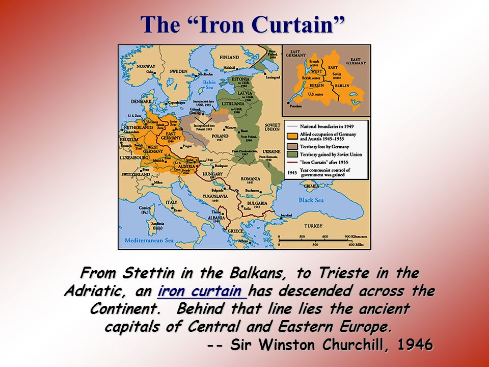 The Ideological Struggle Soviet & Eastern Bloc Nations [Iron Curtain] US & the Western Democracies GOAL spread world-wide Communism GOAL Containment o