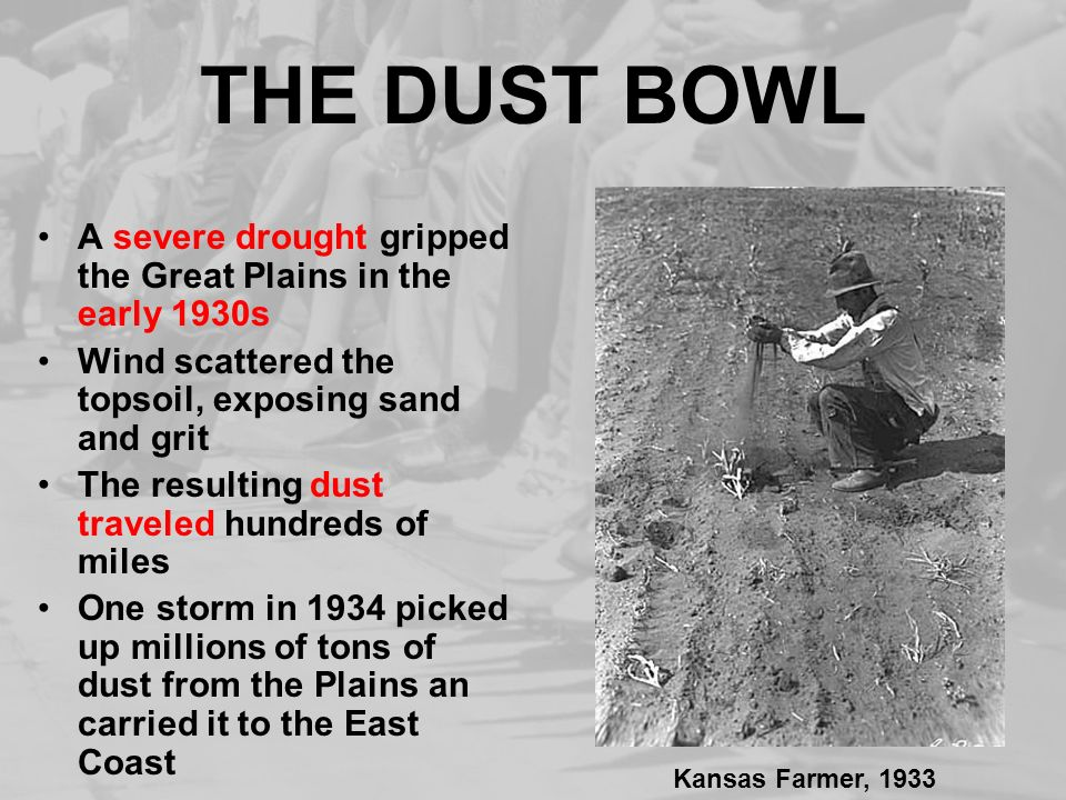 THE DUST BOWL A severe drought gripped the Great Plains in the early 1930s Wind scattered the topsoil, exposing sand and grit The resulting dust trave
