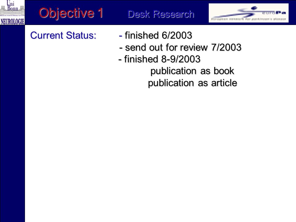 Current Status: - finished 6/2003 - send out for review 7/2003 - send out for review 7/2003 - finished 8-9/2003 publication as book publication as article Objective 1 Desk Research