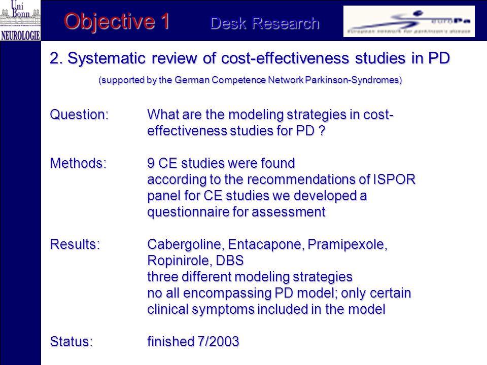 Objective 2 Field Research (since 2/2003) 1.