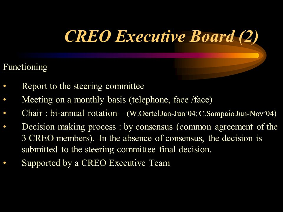 CREO Executive Board (2) Functioning Report to the steering committee Meeting on a monthly basis (telephone, face /face) Chair : bi-annual rotation – (W.Oertel Jan-Jun04; C.Sampaio Jun-Nov04) Decision making process : by consensus (common agreement of the 3 CREO members).