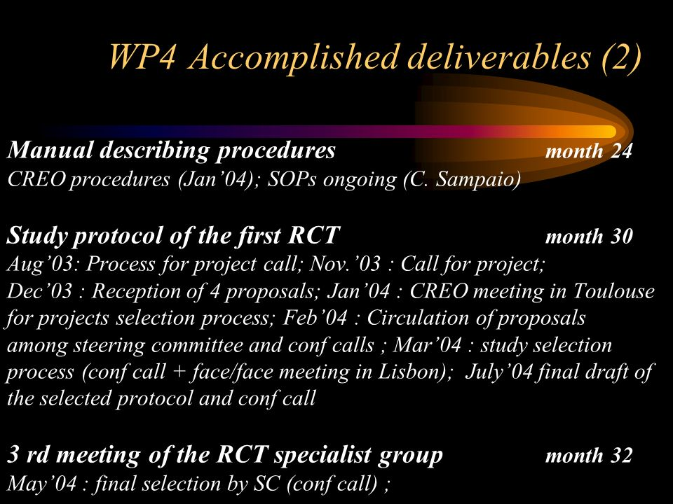 WP4 Accomplished deliverables (2) Manual describing procedures month 24 CREO procedures (Jan04); SOPs ongoing (C.