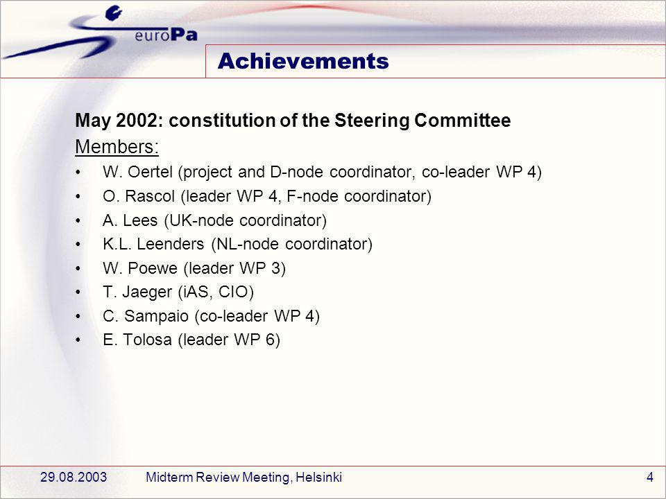 29.08.2003Midterm Review Meeting, Helsinki4 Achievements May 2002: constitution of the Steering Committee Members: W.