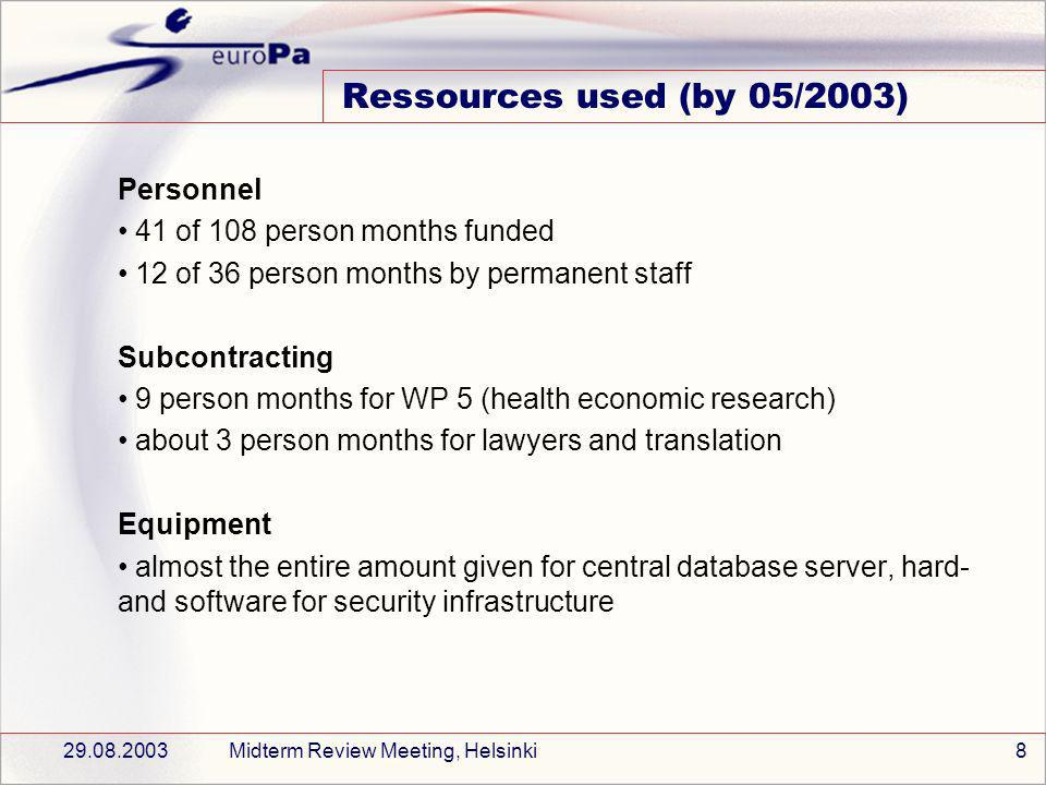 29.08.2003Midterm Review Meeting, Helsinki8 Ressources used (by 05/2003) Personnel 41 of 108 person months funded 12 of 36 person months by permanent staff Subcontracting 9 person months for WP 5 (health economic research) about 3 person months for lawyers and translation Equipment almost the entire amount given for central database server, hard- and software for security infrastructure