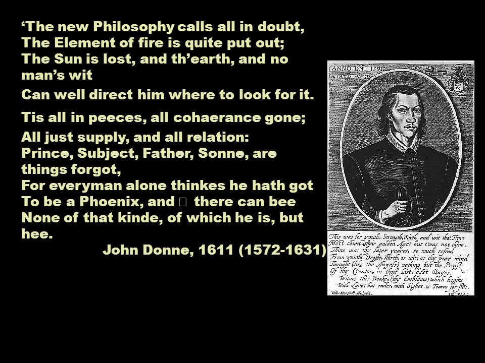The new Philosophy calls all in doubt, The Element of fire is quite put out; The Sun is lost, and thearth, and no mans wit Can well direct him where to look for it.