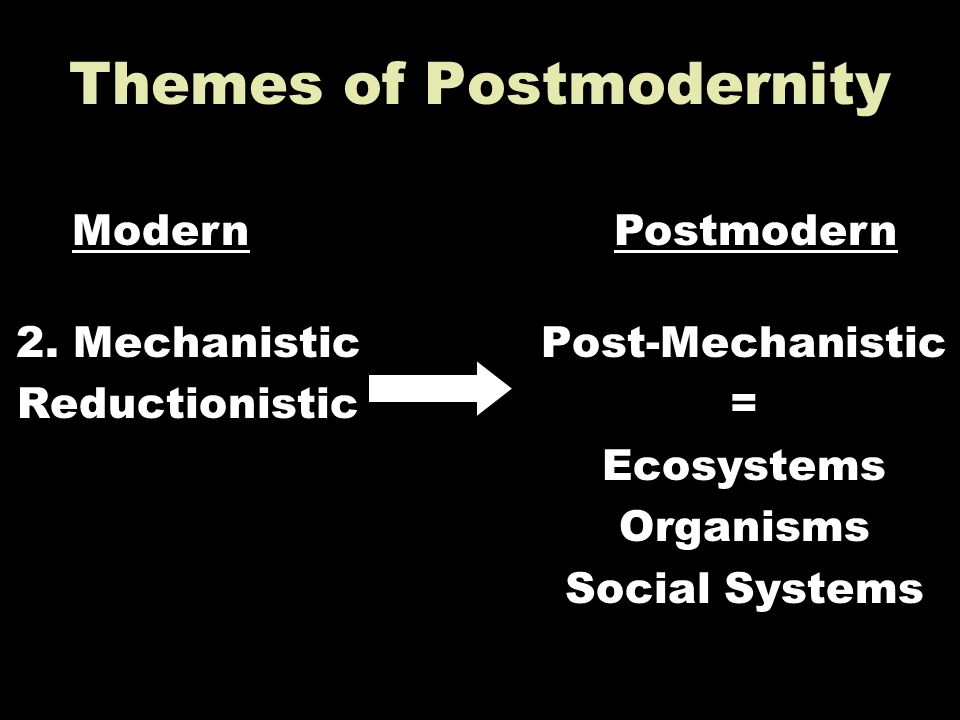Themes of Postmodernity 2. Mechanistic Reductionistic Post-Mechanistic = Ecosystems Organisms Social Systems ModernPostmodern