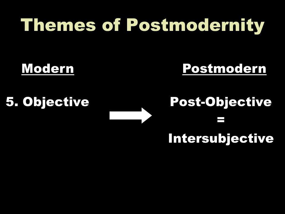 Themes of Postmodernity 5. ObjectivePost-Objective = Intersubjective ModernPostmodern