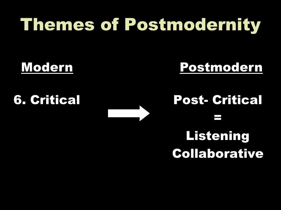 Themes of Postmodernity 6. CriticalPost- Critical = Listening Collaborative ModernPostmodern