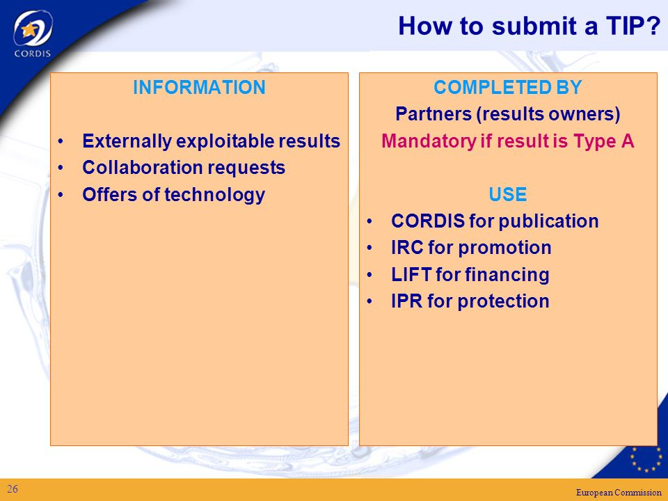 European Commission 26 How to submit a TIP.