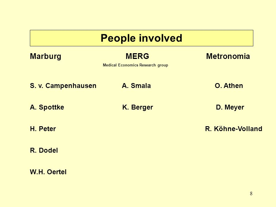 8 People involved Marburg MERG Metronomia Medical Economics Research group S. v. Campenhausen A. Smala O. Athen A. Spottke K. Berger D. Meyer H. Peter