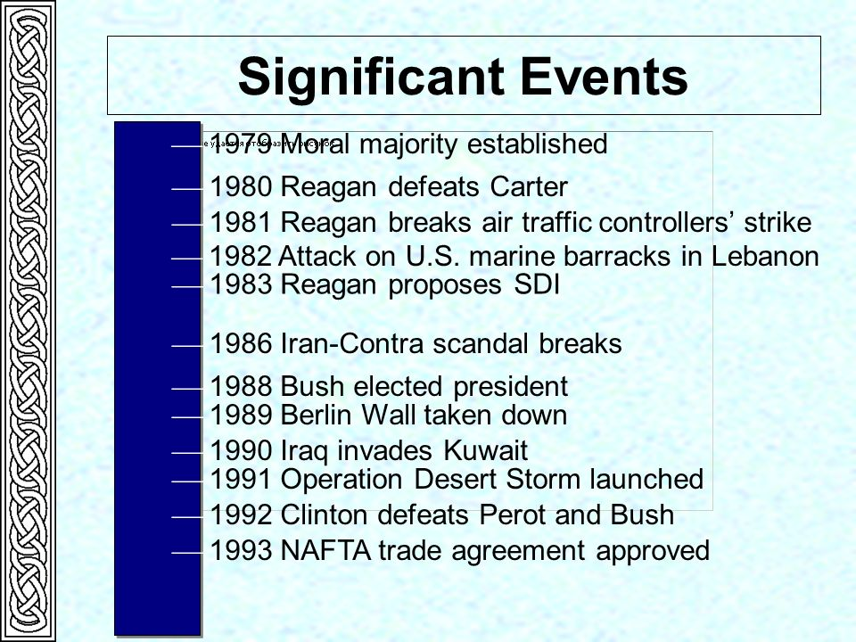 1979 Moral majority established Significant Events 1980 Reagan defeats Carter 1981 Reagan breaks air traffic controllers strike 1982 Attack on U.S. ma