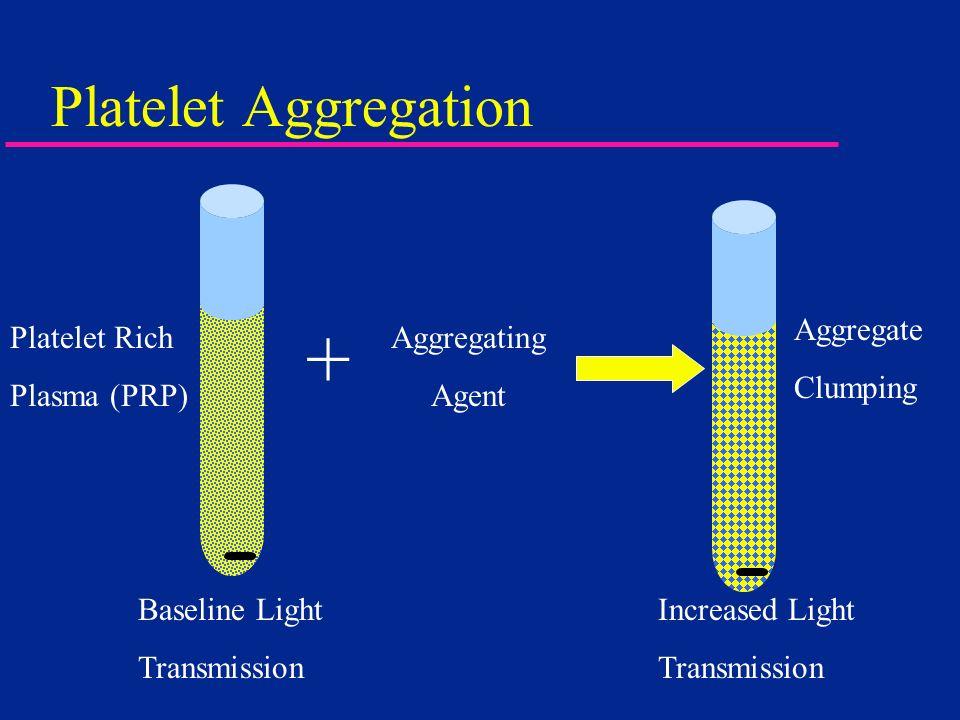 Platelet Aggregation Baseline Light Transmission Platelet Rich Plasma (PRP) + Aggregating Agent Aggregate Clumping Increased Light Transmission