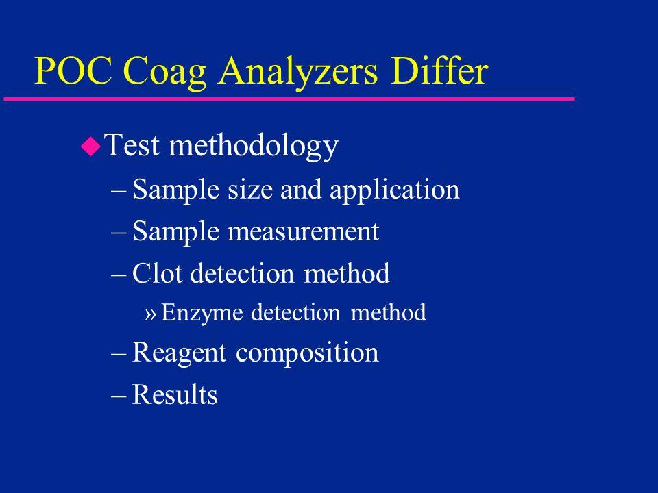 POC Coag Analyzers Differ u Test methodology –Sample size and application –Sample measurement –Clot detection method »Enzyme detection method –Reagent