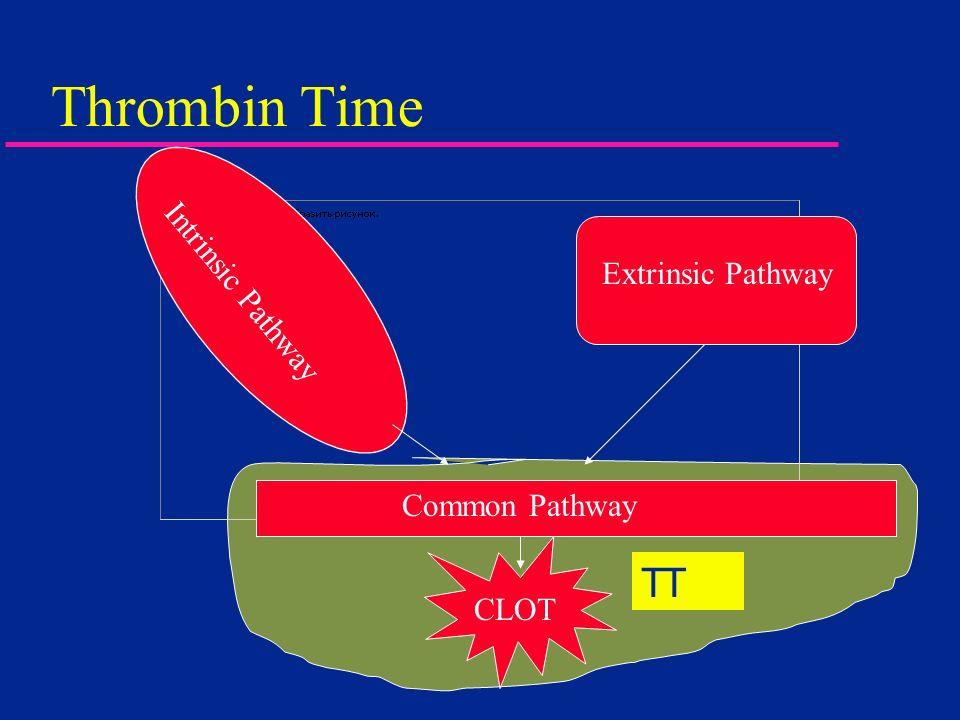 Thrombin Time Intrinsic Pathway Extrinsic Pathway Common Pathway CLOT TT