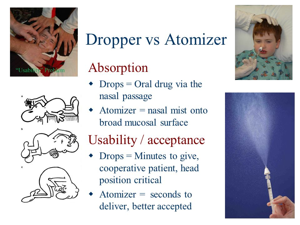 Dropper vs Atomizer Absorption Drops = Oral drug via the nasal passage Atomizer = nasal mist onto broad mucosal surface Usability / acceptance Drops =