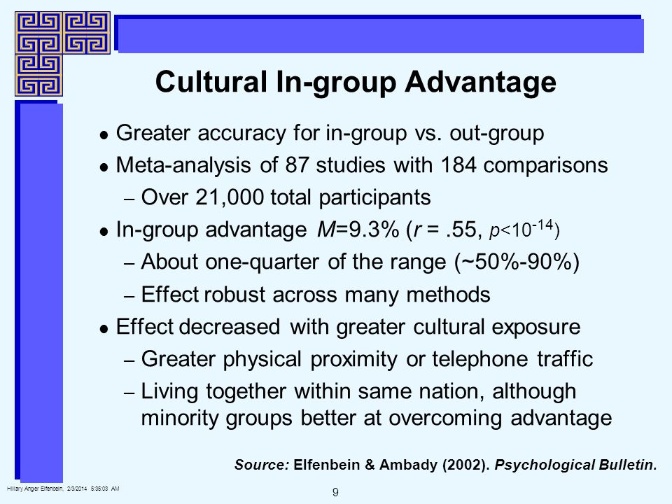 9 Hillary Anger Elfenbein, 2/3/2014 5:35:25 AM Cultural In-group Advantage Greater accuracy for in-group vs.