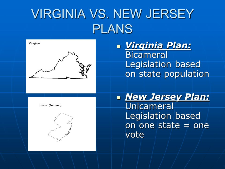 VIRGINIA VS. NEW JERSEY PLANS Virginia Plan: Bicameral Legislation based on state population Virginia Plan: Bicameral Legislation based on state popul