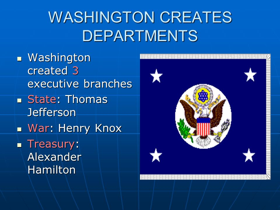 WASHINGTON CREATES DEPARTMENTS Washington created 3 executive branches Washington created 3 executive branches State: Thomas Jefferson State: Thomas J