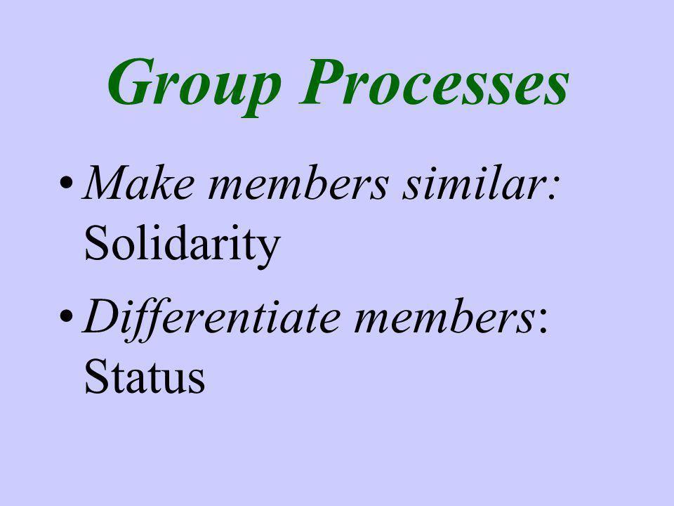Group Processes Make members similar: Solidarity Differentiate members: Status