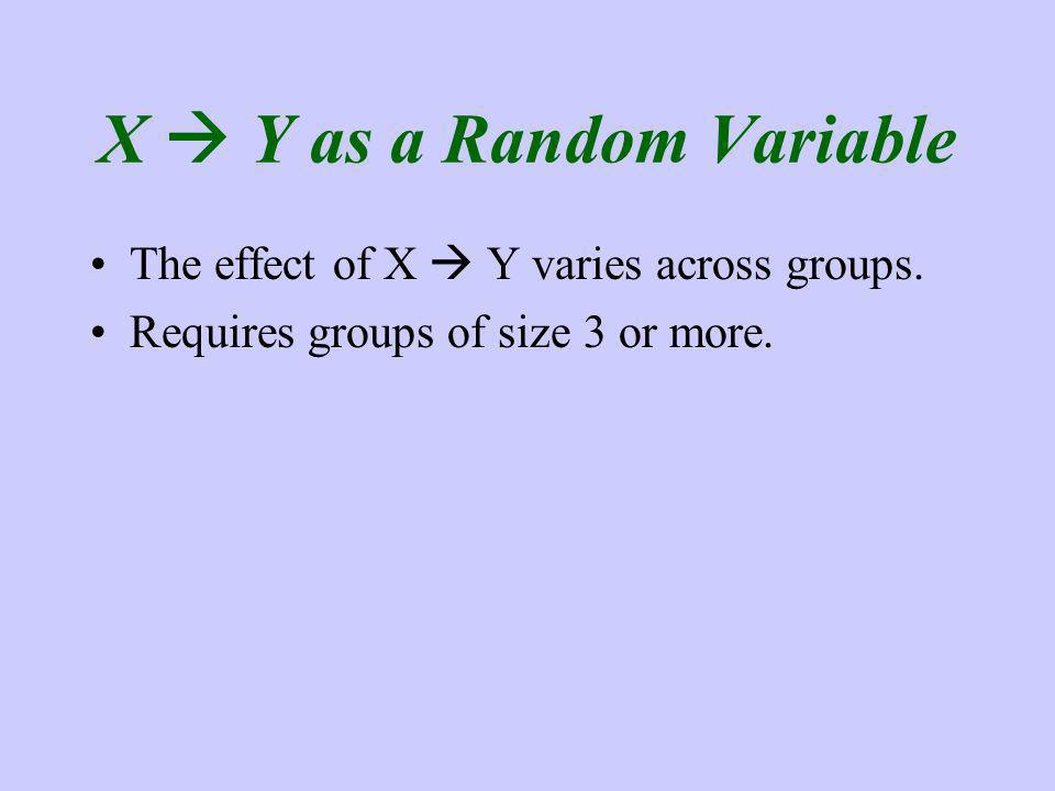 X Y as a Random Variable The effect of X Y varies across groups. Requires groups of size 3 or more.