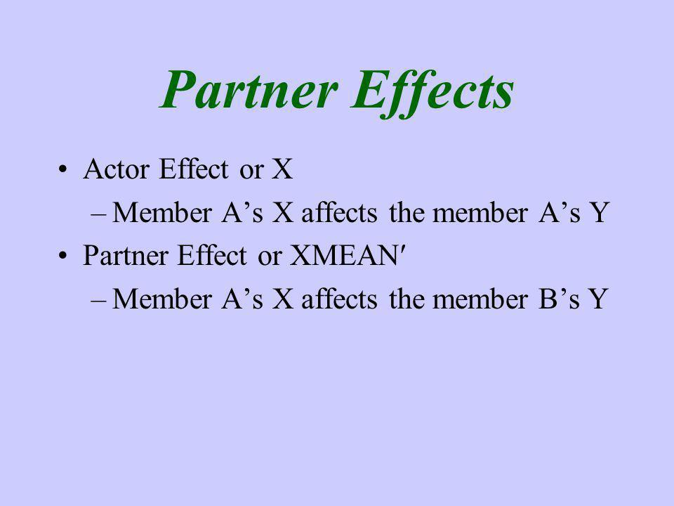Partner Effects Actor Effect or X –Member As X affects the member As Y Partner Effect or XMEAN –Member As X affects the member Bs Y