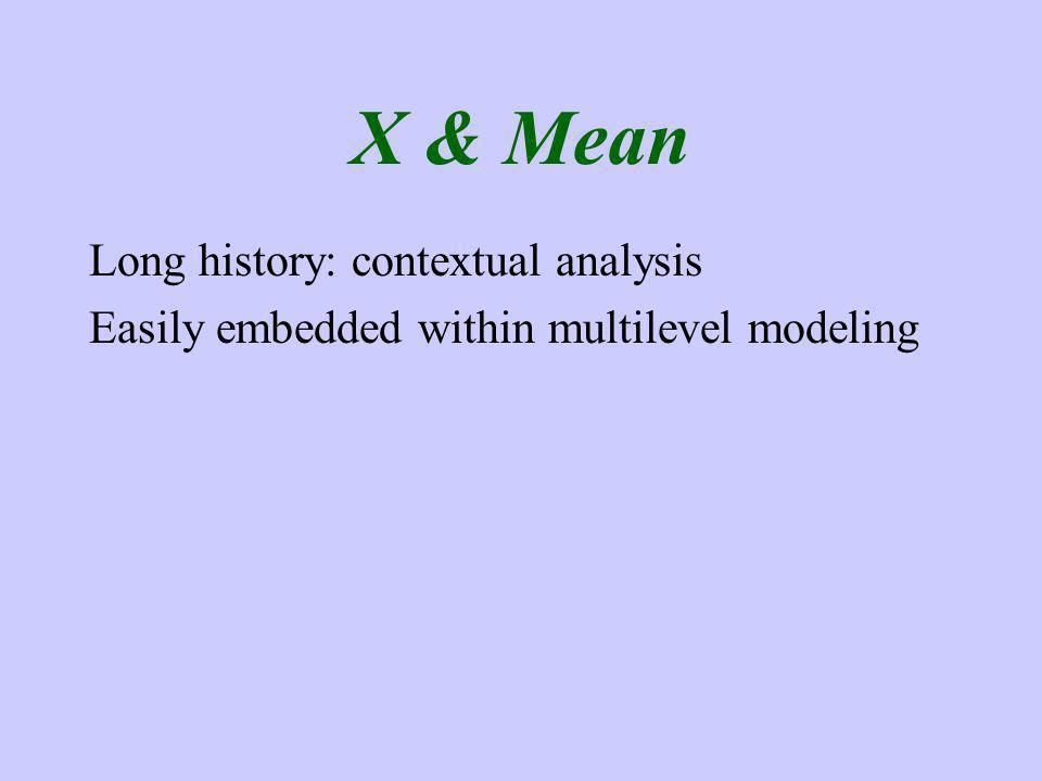 X & Mean Long history: contextual analysis Easily embedded within multilevel modeling