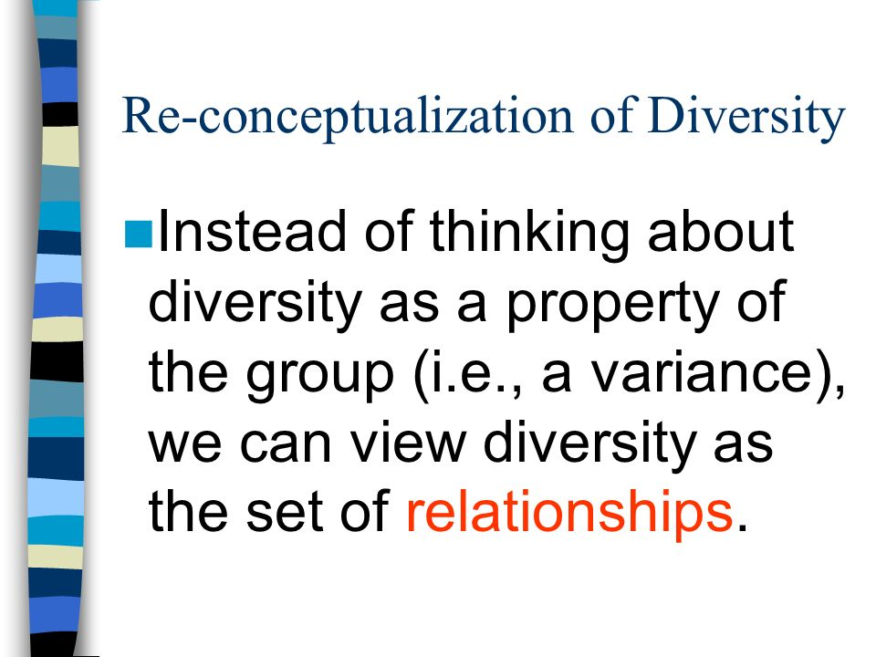 Re-conceptualization of Diversity Instead of thinking about diversity as a property of the group (i.e., a variance), we can view diversity as the set