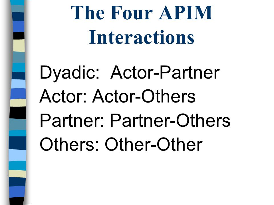 The Four APIM Interactions Dyadic: Actor-Partner Actor: Actor-Others Partner: Partner-Others Others: Other-Other