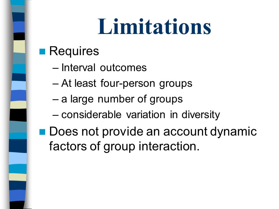 Limitations Requires –Interval outcomes –At least four-person groups –a large number of groups –considerable variation in diversity Does not provide a