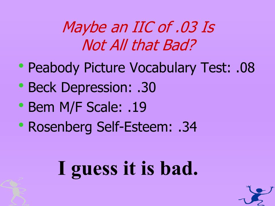 Maybe an IIC of.03 Is Not All that Bad? Peabody Picture Vocabulary Test:.08 Beck Depression:.30 Bem M/F Scale:.19 Rosenberg Self-Esteem:.34 I guess it