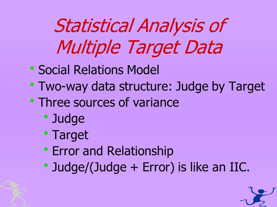 Statistical Analysis of Multiple Target Data Social Relations Model Two-way data structure: Judge by Target Three sources of variance Judge Target Err